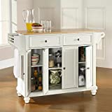 Crosley Furniture Cambridge Natural Wood Top Kitchen Island, White