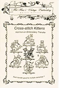 Cross-stitch Kittens for Days-of-the-week Hot Iron Embroidery Transfers