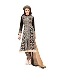 Black Semi Stitched Georgette Straight Cut Salwar Suit - B010DXYKZ4