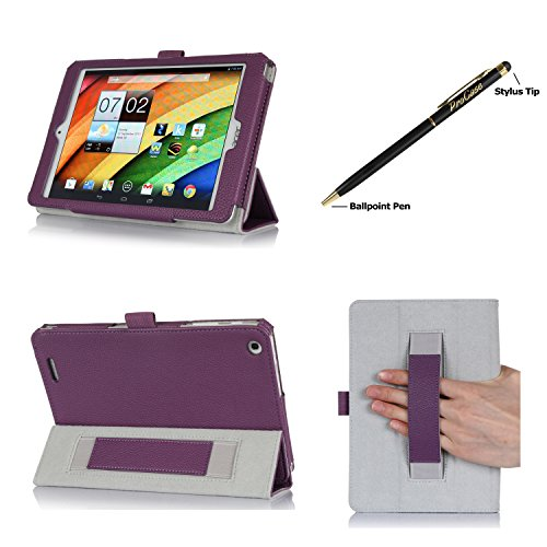ProCase Folio Stand Case for Acer Iconia A1-830 Tablet Case - Tri-Fold Slim Book Cover for Acer Iconia A1-830 Android Tablet (2014 released), Corner Protected, with Stand, Hand Strap, bonus stylus pen included (Purple)