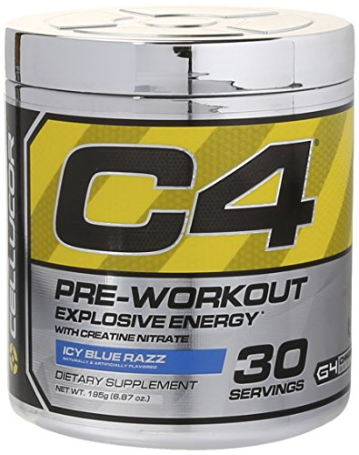 Cellucor  - C4 Fitness Training Pre-Workout Supplement for Men and Women - Enhance Energy and Focus with Creatine Nitrate and Vitamin B12, Icy Blue Razz, 30 Servings