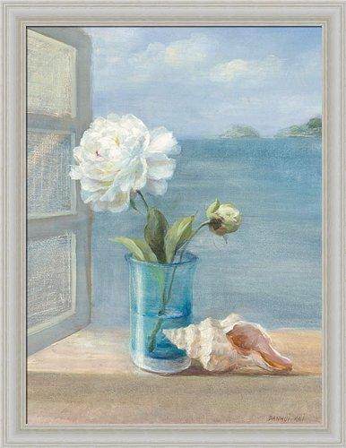 Coastal Floral I By Danhui Nai Blue Bath Bathroom Wall Art Print Framed Décor front-879081