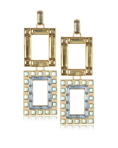 Isaac Mizrahi Blue & Mint Deco Statement Earrings