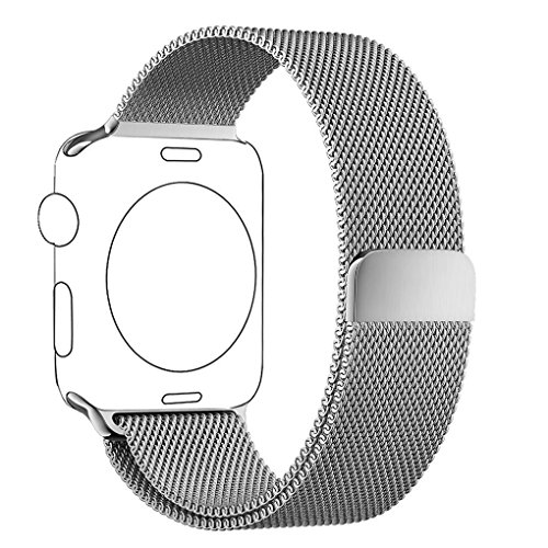 Apple Watch Cinturino 42mm Argento, PUGO TOP® Loop in Maglia Milanese Acciaio Inossidabile con Chiusura Magnetica Regolabile Bracciale Strap Band for Apple Watch Band Series 1 / Apple Watch Band Series 2 (42mm Argento)