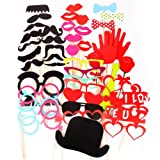 44PCS Colorful Props On A Stick Mustache Photo Booth Party Fun Wedding Valentine Lover Birthday Favor UK