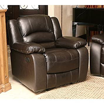 Wellington Reclining Armchair, Covered with Brown Premium Italian Leather