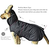 PetCee Waterproof 100% Polyester- Fleece Lined Jacket Reflective Dog Jacket Loft Dog Coat Climate Changer Fleece Jacket (Black L)