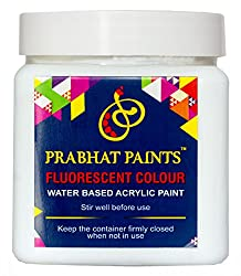 Prabhat Paints Water Based Fluorescent Paint (500 g, Matt White / UV Blue,Glows only under UV Tube Light or UV Bulb)