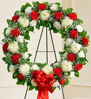 1800Flowers - Serene Blessings Standing Wreath - Red & White - Small front-350554