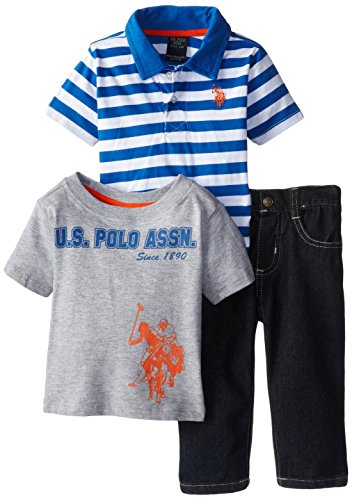U.S. Polo Assn. Baby-Boys Infant 3 Piece Stripe Pique Polo 5-Pocket Jeans And Graphic T-Shirt Set, Strong Blue, 24 Months front-945080