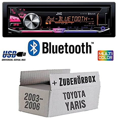 TOYOTA YARIS P1 2003-2006 - JVC KD r971bt - Bluetooth Kit de montage autoradio CD/MP3/USB Multicolore -
