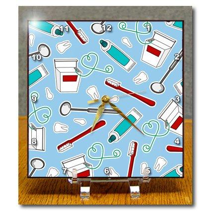 Dc_165818_1 Janna Salak Designs Occupational Gifts - Cute Dentist Dental Hygienist Print Blue - Desk Clocks - 6X6 Desk Clock