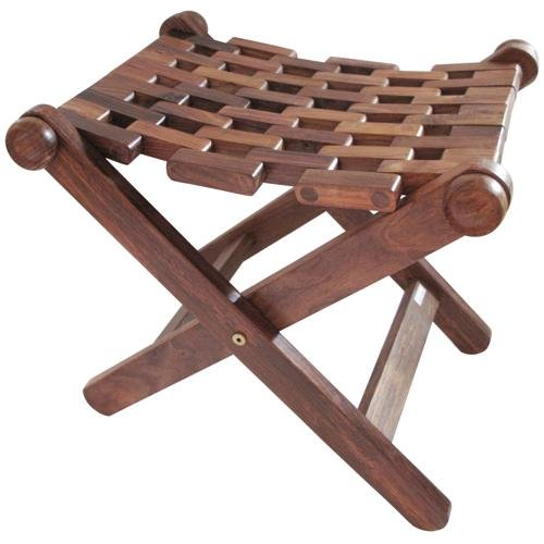 Indian Hand Made Wooden Mesh Folding Stool