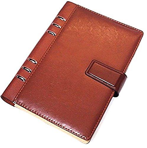 革製 システム 手帳 ノート A5 A6 B5 名刺 カード入れ 黒 茶 リング 22mm ペン入れ ダイアリー 日記 メモ帳  ビジネス にも (茶B5)