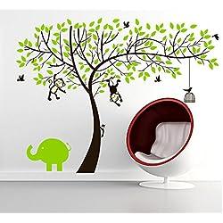 Rainbow Fox Affe und Elefant Spielen auf Riesenbaum-Wandtattoo Wandaufkleber für Kinderzimmer Dekoration (Grün)
