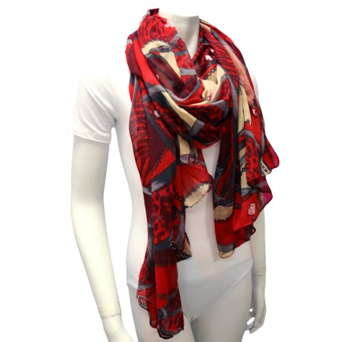 Red Multi Color Chain & Belt Print Lightweight Scarf Wrap