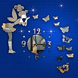 TOPUNDER Modern Style Butterfly Fairy DIY Mirror Wall Clock Wall Sticker Home Decor