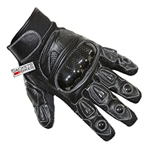 Motorcycle Biker Gloves Carbon Kevlar Leather Black by Jackets 4 Bikes