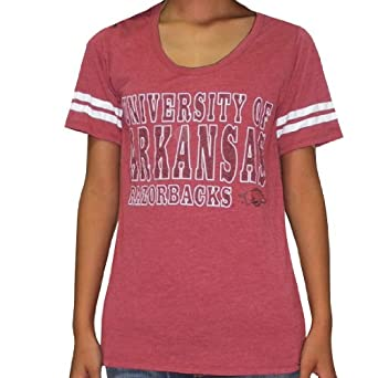Ladies NCAA Arkansas Razorbacks Crew-Neck Cotton T-Shirt Tee by NCAA