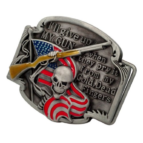 RED I'LL GIVE UP MY GUN Belt Buckle Biker Skull Unique Metal New Cool Shotgun