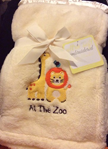 "Ultra Soft Embroidered ""At the Zoo"" Yellow Baby Blanket"