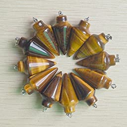 20Pcs Natural Tiger Eye Stone Pendulum Circular Cone Charms Pendants