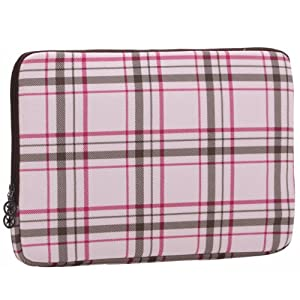13 inch Pink Plaid Pattern Laptop Notebook Sleeve Slip Case Bag for most of MacBook Acer Asus Dell HP Lenovo Sony by MyGift