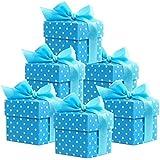 Lot de 50 petites boîtes à cadeaux (bleu) avec dragées pour baptême de mariage misterParty