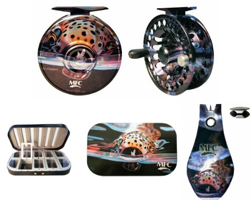 Snack Fly Fishing Combo - 5/6wt Reel, Aluminum 10 Compartment Fly Box, and Tungsten Nippers