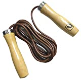 POT 革製 縄跳び プロ 仕様 ジャンプロープ エクササイズ ダイエット ボクシング トレーニング に 木製 持ち手 長さ 2.75m ブラウン