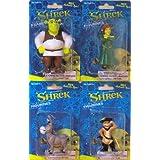 Shrek Figurine Set of 4: Shrek, Fiona, Donkey & Puss in Boots ~ DreamWorks