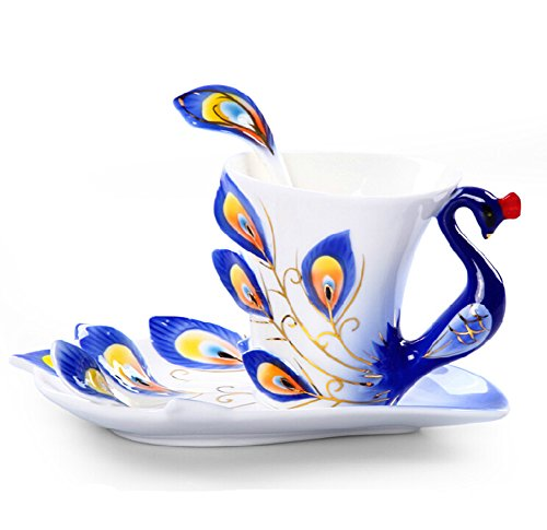 Moyishi Hand Crafted Porcelain Enamel Delicate Peacock Tea Coffee Cup Set With Saucer And Spoon (Blue)