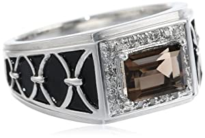 Men's Sterling Silver Baguette Smoky Quartz and Diamond Ring (0.088 cttw, I-J Color, I2-I3 Clarity), Size 10