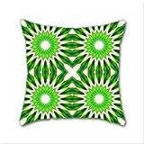Cotton Linen Throw Pillow, Decorative Pillows.? Serene Green Pinwheel Flowers Cotton Linen Square Decorative Throw Pillow Case Cushion Cover 18 x 18 Inch