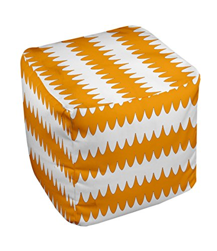 E by design FG-N20-Celosia_Orange-18 Geometric Pouf