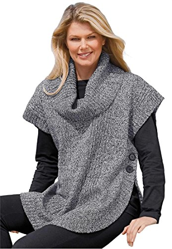 Women's Plus Size Sweater, Poncho Style With Cowl Neck Black White,1X (Cowl Sweater Plus Size compare prices)