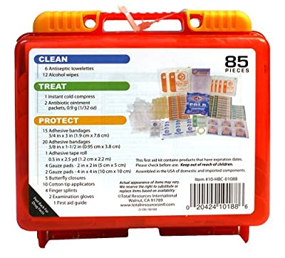Be Smart Get Prepared 85 Piece First Aid Kit In Durable Plastic Case, Compact, 0.69 Pound from Be Smart Get Prepared