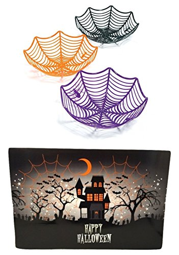 [Halloween 3 Large Spider Web Plastic Basket Bowls 1 Place mat for Halloween Parties Decorations Haunted House Kids Toddlers Teen] (Homemade Mickey Mouse Halloween Costumes)