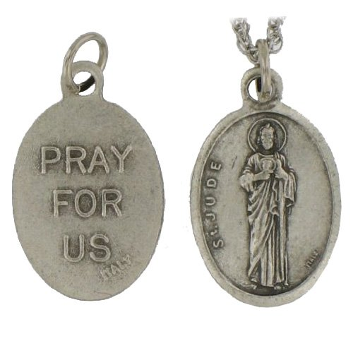 St. Jude Medal Pray for Us 20″ Steel Chain with Clasp