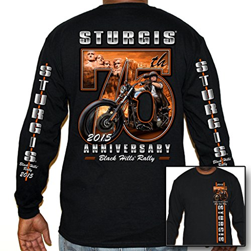 Biker Life USA Men's 2015 Sturgis 75th Rushmore Scene Long Sleeve Shirt