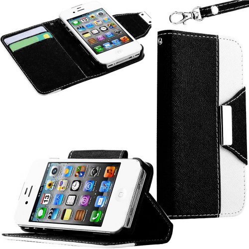 Mylife (Tm) Black And White Classy Design - Textured Koskin Faux Leather (Lanyard Strap + Card And Id Holder + Magnetic Detachable Closing) Slim Wallet For Iphone 4/4S (4G) 4Th Generation Touch Phone (External Rugged Synthetic Leather With Magnetic Clip +