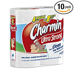 10-pack Charmin Ultra Strong 4 Big Rolls, 176 2-ply Sheets (40 rolls total) $22.39