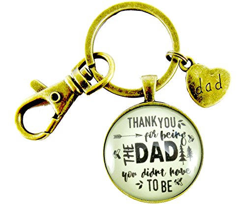 Thank You for Being the Dad You Didn't Have to Be Step Dad Father Keychain Hipster 1.20