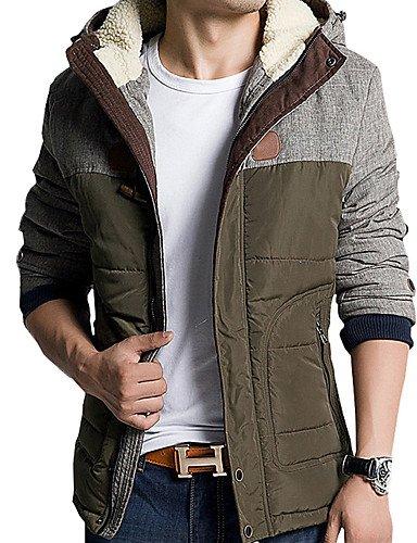 SU-Moda Uomo Slim Periodo Di Colore Spessa Cappotto Incappucciato, Cotone Poliestere Color Block Manicotto Di / Long, Verde Militare, 3Xl