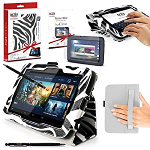 """ORZLY® Stand & Type Case for TESCO HUDL ORIGINAL 7"""" Tablet - Case with Built-In Hand Strap & Integrated Stand - ZEBRA Case / Cover / Skin with Built-In PropUp Stand (Dual Angle for Viewing & Typing Positions) - designed by Orzly for use with Original Hudl 7 inch Tablet - Released in 2013 (NOT second 2014 version). Case includes BONUS: ORZLY Stylus Pen + Screen Protector"""
