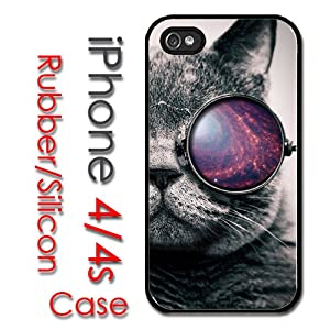 iPhone 4 4S Rubber Silicone Case - Tumblr Cat with glasses the galaxy