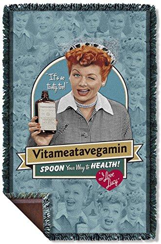 I Love Lucy - Vitameatavegamin Woven Throw Throw Blanket 35 x 57in