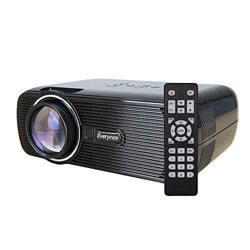 Everycom LEDプロジェクター 1500lm USB/SD/HDMI/AV/VGA/TV対応 家庭用 日本語取り扱い