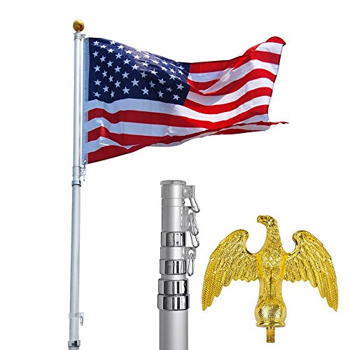 20Ft Telescopic Aluminum Flag Pole + Eagle Top Kit W/ Free 3'X5' Us Flag & Ball Top Telescoping Flagpole