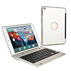 Cooper Cases(TM) Kai Skel Clamshell Keyboard Case for Apple iPad Mini 4 in Silver (MacBook-like Design, Built-in US English QWERTY Keyboard, Bluetooth Connection, Auto Sleep/Wake)